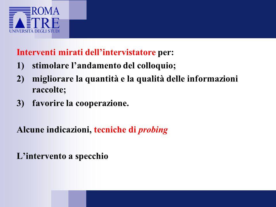 Interventi mirati dell'intervistatore per: 1)stimolare l'andamento del colloquio; 2)migliorare la quantità e la qualità delle informazioni raccolte; 3