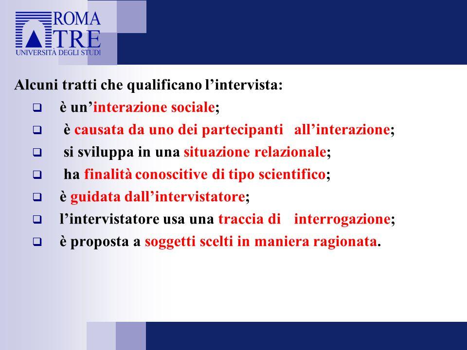 Alcuni tratti che qualificano l'intervista:  è un'interazione sociale;  è causata da uno dei partecipanti all'interazione;  si sviluppa in una situ