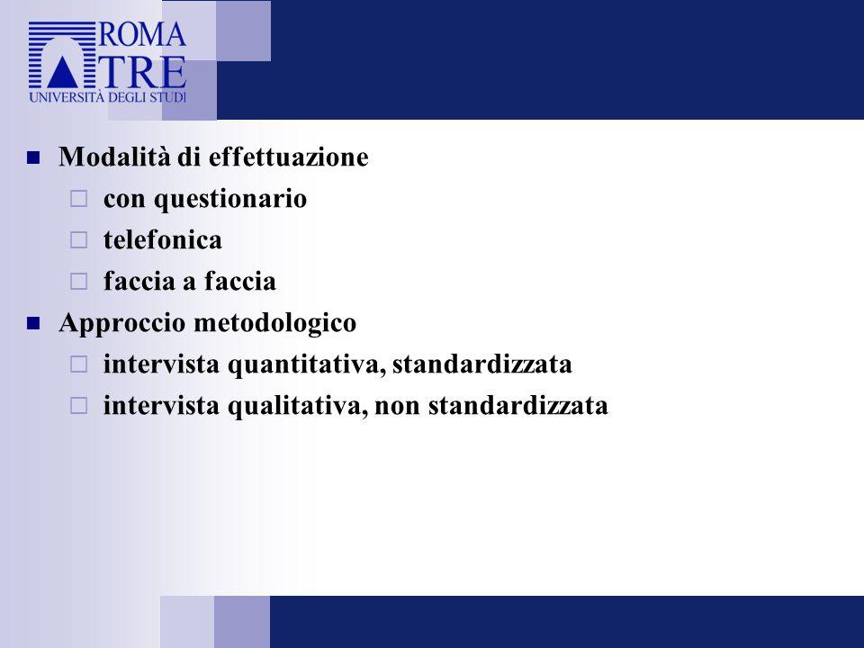 Modalità di effettuazione  con questionario  telefonica  faccia a faccia Approccio metodologico  intervista quantitativa, standardizzata  intervi