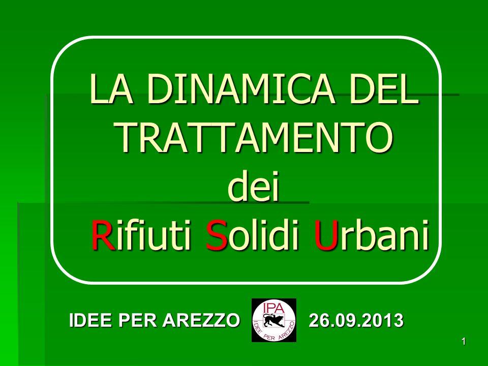 1 LA DINAMICA DEL TRATTAMENTO dei Rifiuti Solidi Urbani IDEE PER AREZZO 26.09.2013