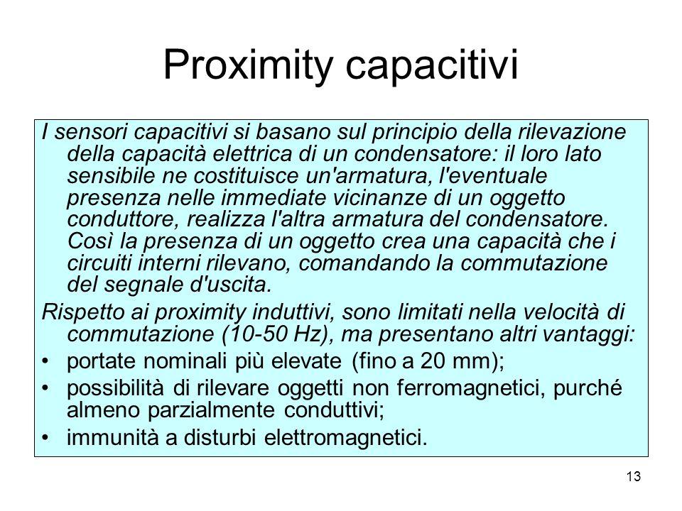 13 Proximity capacitivi I sensori capacitivi si basano sul principio della rilevazione della capacità elettrica di un condensatore: il loro lato sensi