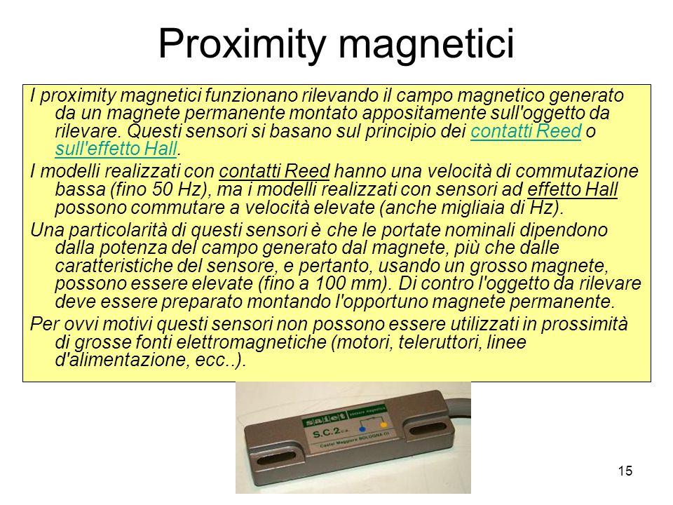 15 Proximity magnetici I proximity magnetici funzionano rilevando il campo magnetico generato da un magnete permanente montato appositamente sull'ogge