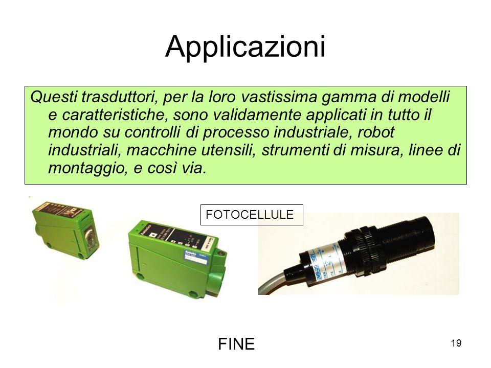 19 Applicazioni Questi trasduttori, per la loro vastissima gamma di modelli e caratteristiche, sono validamente applicati in tutto il mondo su control