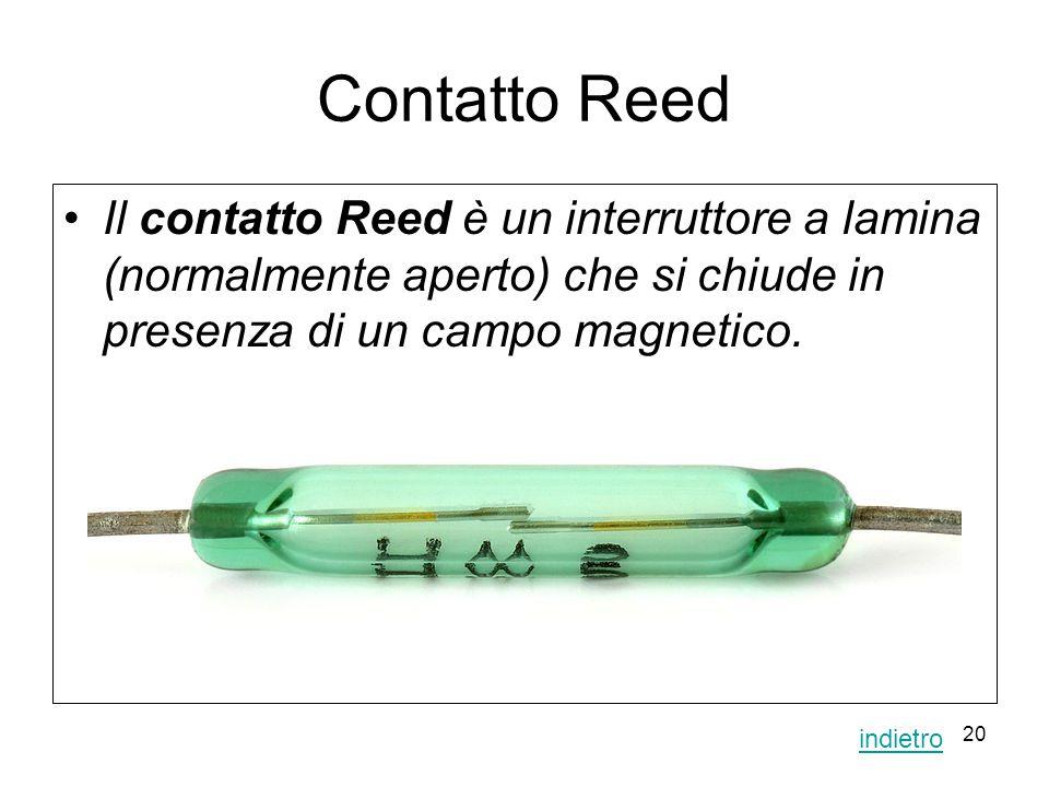 20 Contatto Reed Il contatto Reed è un interruttore a lamina (normalmente aperto) che si chiude in presenza di un campo magnetico. indietro