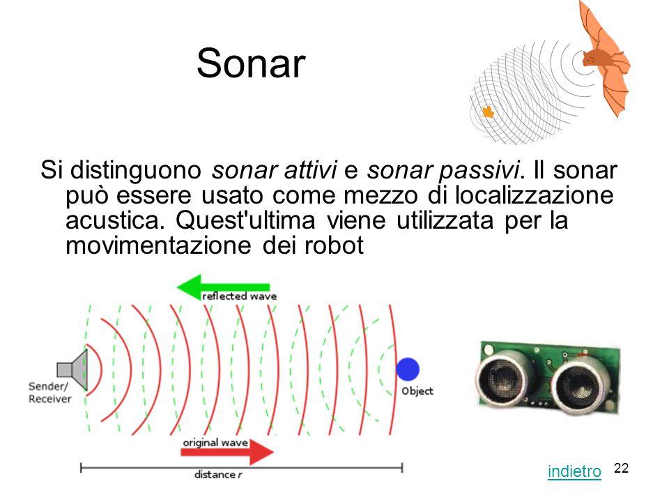 22 Sonar Si distinguono sonar attivi e sonar passivi. Il sonar può essere usato come mezzo di localizzazione acustica. Quest'ultima viene utilizzata p