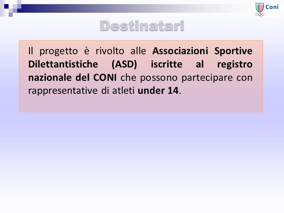 Destinatari Il progetto è rivolto alle Associazioni Sportive Dilettantistiche (ASD) iscritte al registro nazionale del CONI che possono partecipare con rappresentative di atleti under 14.