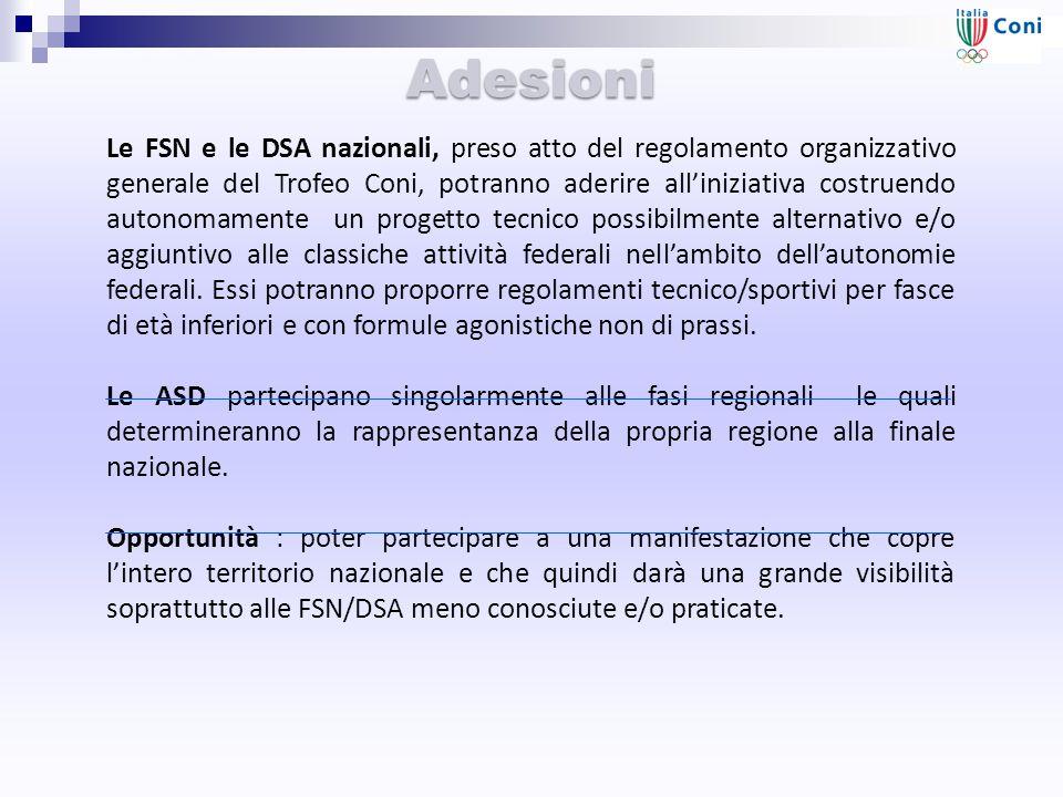 Adesioni Le FSN e le DSA nazionali, preso atto del regolamento organizzativo generale del Trofeo Coni, potranno aderire all'iniziativa costruendo autonomamente un progetto tecnico possibilmente alternativo e/o aggiuntivo alle classiche attività federali nell'ambito dell'autonomie federali.