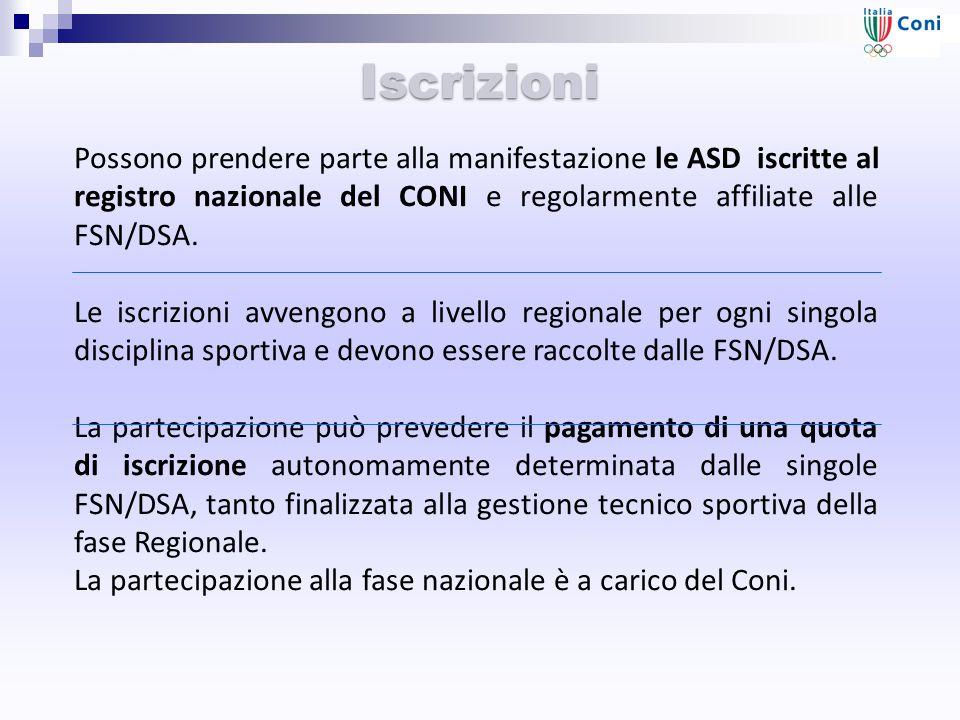Iscrizioni Possono prendere parte alla manifestazione le ASD iscritte al registro nazionale del CONI e regolarmente affiliate alle FSN/DSA. Le iscrizi