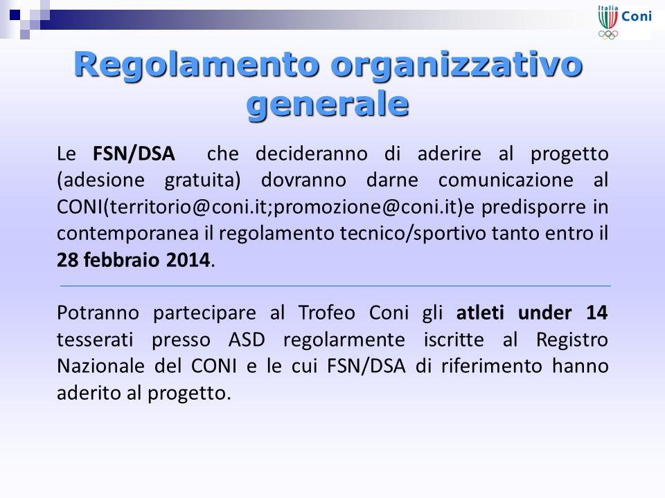 Regolamento organizzativo generale Le FSN/DSA che decideranno di aderire al progetto (adesione gratuita) dovranno darne comunicazione al CONI(territorio@coni.it;promozione@coni.it)e predisporre in contemporanea il regolamento tecnico/sportivo tanto entro il 28 febbraio 2014.