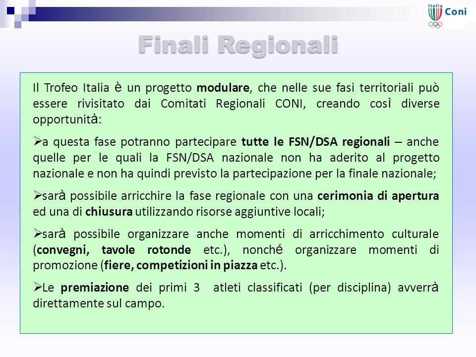 Finali Regionali Il Trofeo Italia è un progetto modulare, che nelle sue fasi territoriali può essere rivisitato dai Comitati Regionali CONI, creando c