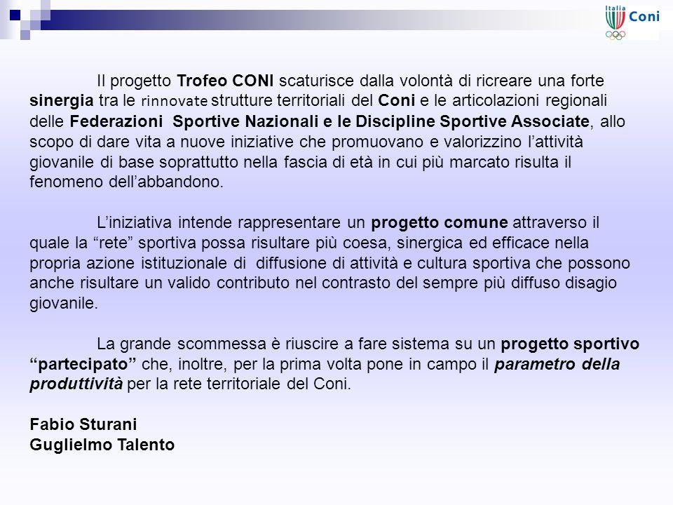 Il progetto Trofeo CONI scaturisce dalla volontà di ricreare una forte sinergia tra le rinnovate strutture territoriali del Coni e le articolazioni re