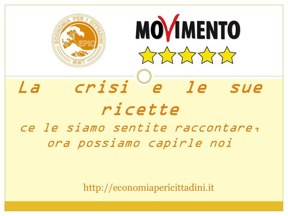 La crisi e le sue ricette ce le siamo sentite raccontare, ora possiamo capirle noi http://economiapericittadini.it
