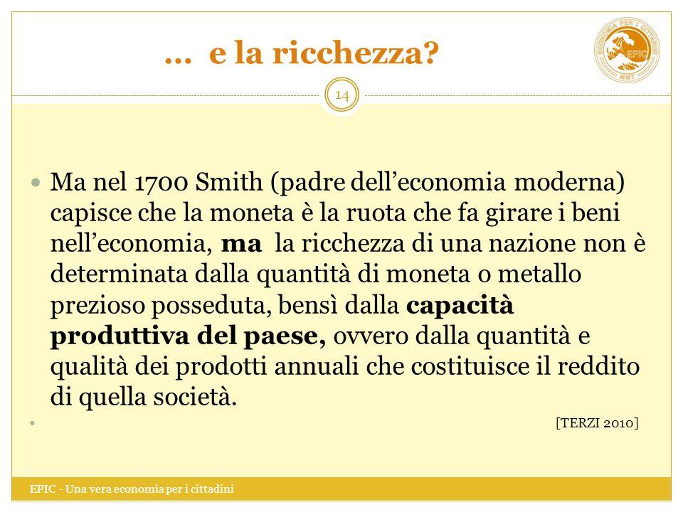 … e la ricchezza? EPIC - Una vera economia per i cittadini 14 Ma nel 1700 Smith (padre dell'economia moderna) capisce che la moneta è la ruota che fa