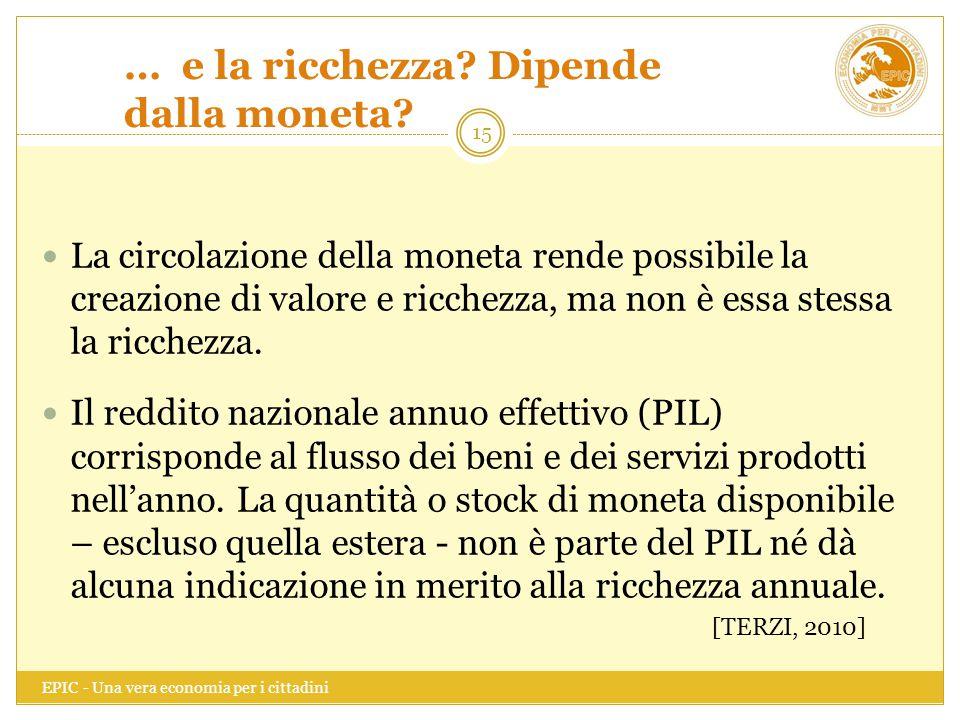 … e la ricchezza? Dipende dalla moneta? EPIC - Una vera economia per i cittadini 15 La circolazione della moneta rende possibile la creazione di valor