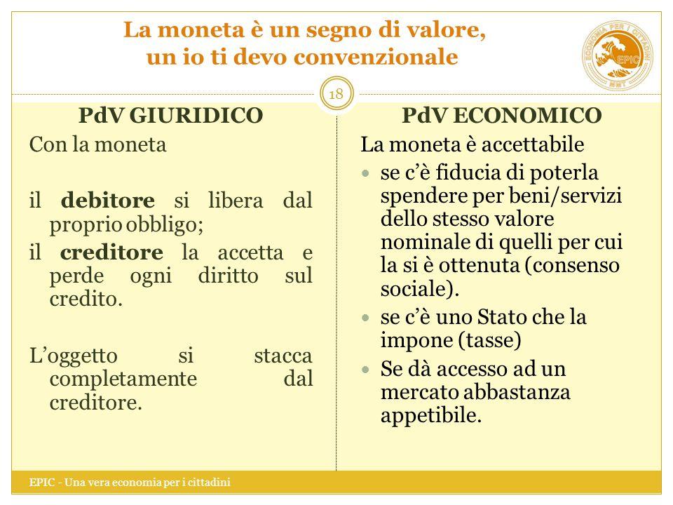 La moneta è un segno di valore, un io ti devo convenzionale EPIC - Una vera economia per i cittadini 18 PdV GIURIDICO Con la moneta il debitore si lib