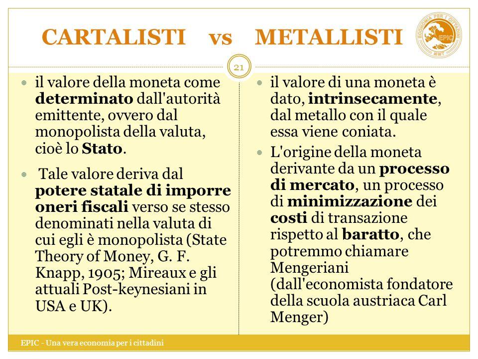 CARTALISTI vs METALLISTI EPIC - Una vera economia per i cittadini 21 il valore della moneta come determinato dall'autorità emittente, ovvero dal monop
