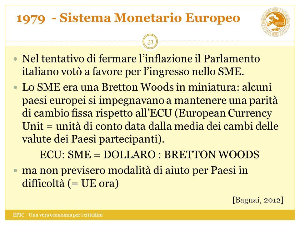 1979 - Sistema Monetario Europeo EPIC - Una vera economia per i cittadini 31 Nel tentativo di fermare l'inflazione il Parlamento italiano votò a favor