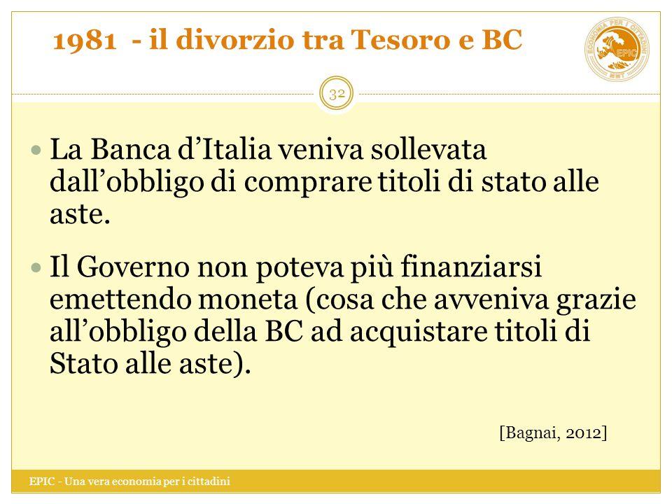 1981 - il divorzio tra Tesoro e BC EPIC - Una vera economia per i cittadini 32 La Banca d'Italia veniva sollevata dall'obbligo di comprare titoli di s