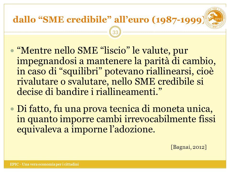 """dallo """"SME credibile"""" all'euro (1987-1999) EPIC - Una vera economia per i cittadini 33 """"Mentre nello SME """"liscio"""" le valute, pur impegnandosi a manten"""