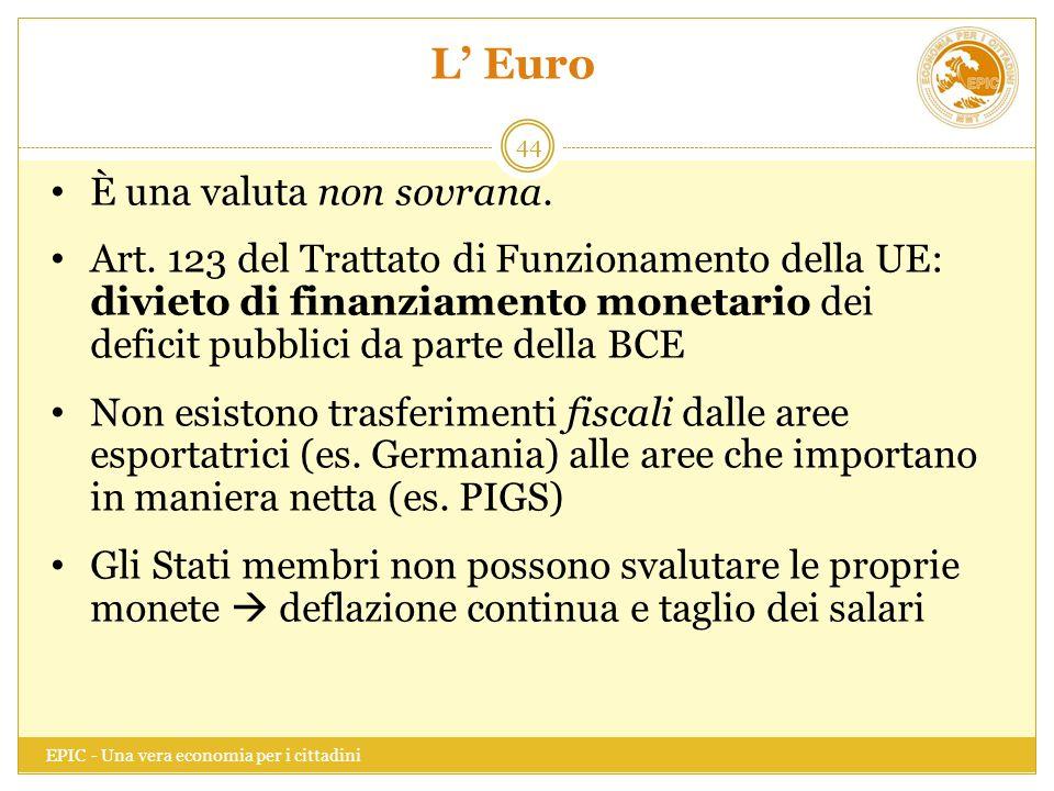 L' Euro EPIC - Una vera economia per i cittadini 44 È una valuta non sovrana. Art. 123 del Trattato di Funzionamento della UE: divieto di finanziament