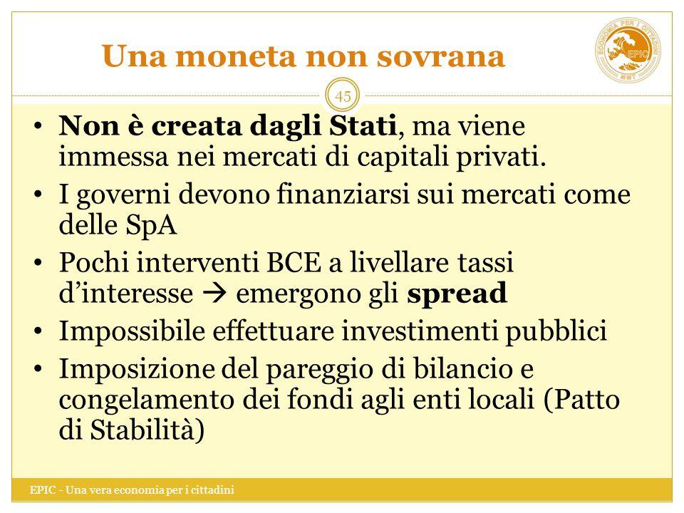 Una moneta non sovrana EPIC - Una vera economia per i cittadini 45 Non è creata dagli Stati, ma viene immessa nei mercati di capitali privati. I gover