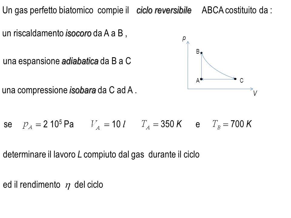 Un gas perfetto biatomico isocoro un riscaldamento isocoro da A a B, adiabatica una espansione adiabatica da B a C isobara una compressione isobara da