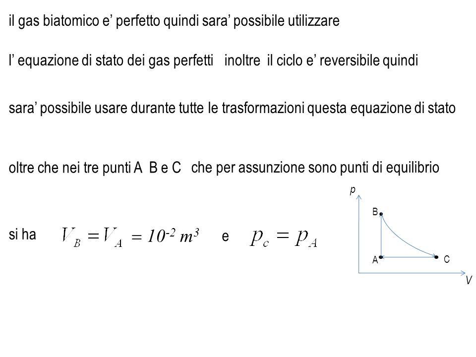 p V A B C il gas biatomico e' perfetto quindi sara' possibile utilizzare l' equazione di stato dei gas perfetti e che per assunzione sono punti di equ