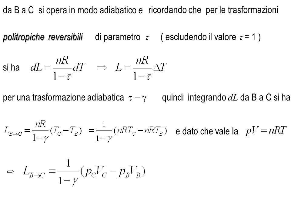 da B a C si opera in modo adiabatico e politropichereversibili politropiche reversibili ( escludendo il valore  = 1 ) si ha e dato che vale la per un