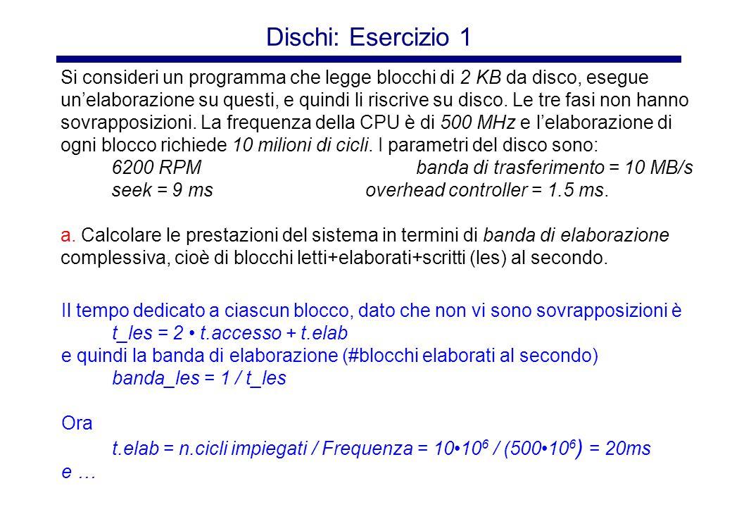 Dischi: Esercizio 1 (continua) Blocchi di 2 KB 6200 RPMbanda di trasferimento = 10 MB/s seek = 9 msoverhead controller = 1.5 ms.
