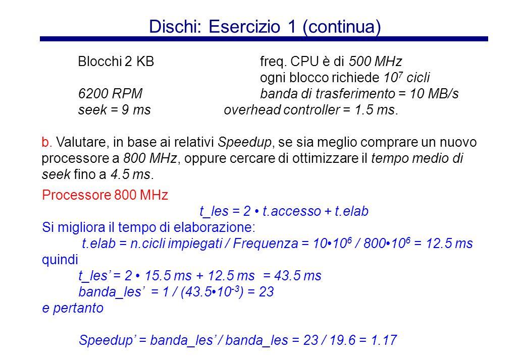 Dischi: Esercizio 1 (continua) Seek 4.5 ms Si migliora il tempo di accesso: t.accesso = 4.5 ms + 4.8 ms + 1.5 ms + 0.2 ms = 11 ms quindi t_les'' = 2 t.accesso + t.elab = 2 11 ms + 20 ms = 42 ms banda_les'' = 1 / (4210 -3 ) = 23.8 per cui Speedup'' = banda_les'' / banda_les = 23.8 / 19.6 = 1.21  Meglio migliorare il tempo di seek .
