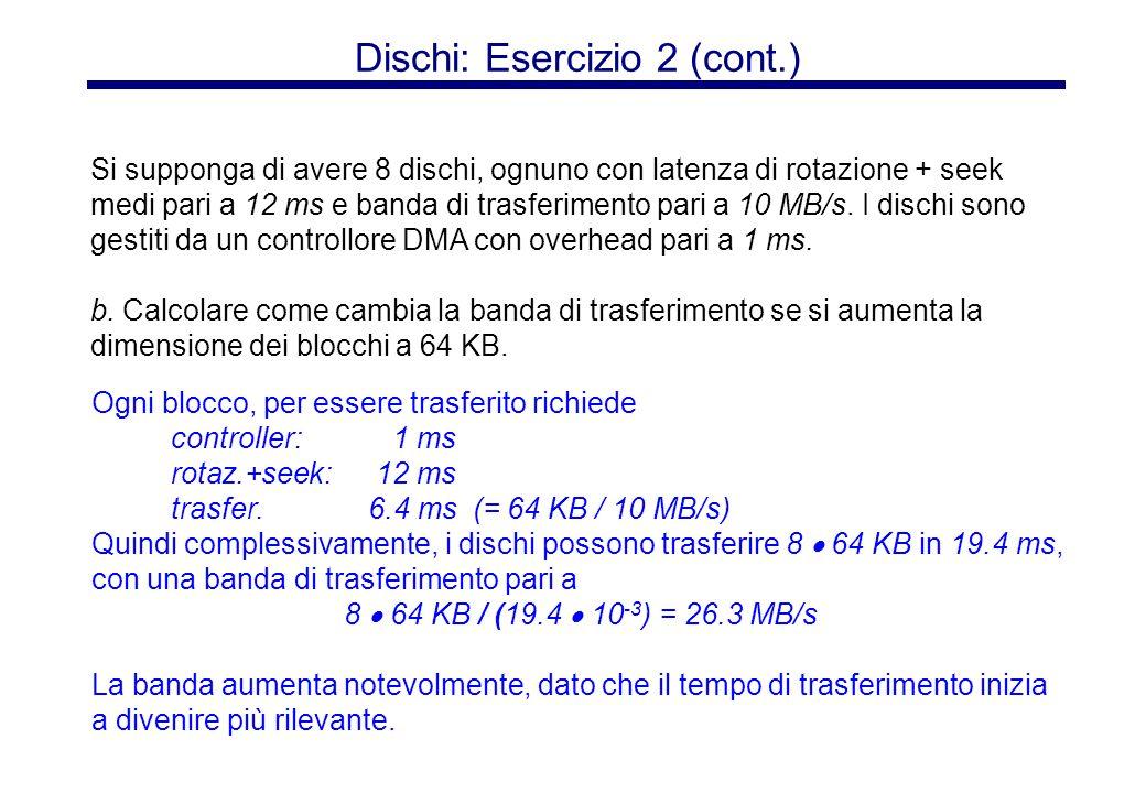 Dischi: Esercizio 2 (cont.) Ogni blocco, per essere trasferito richiede controller: 1 ms rotaz.+seek: 12 ms trasfer.6.4 ms (= 64 KB / 10 MB/s) Quindi
