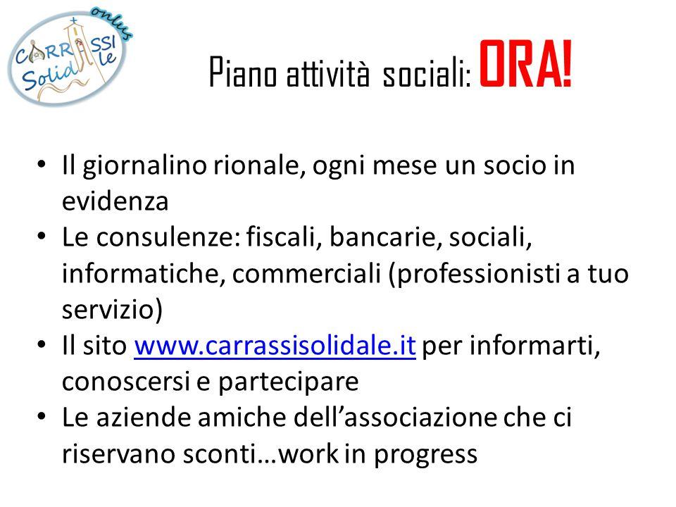Piano attività sociali: ORA! Il giornalino rionale, ogni mese un socio in evidenza Le consulenze: fiscali, bancarie, sociali, informatiche, commercial