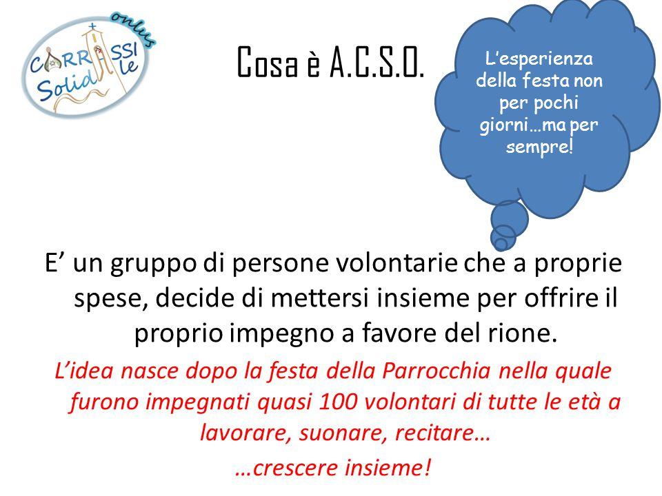 Cosa è A.C.S.O. E' un gruppo di persone volontarie che a proprie spese, decide di mettersi insieme per offrire il proprio impegno a favore del rione.