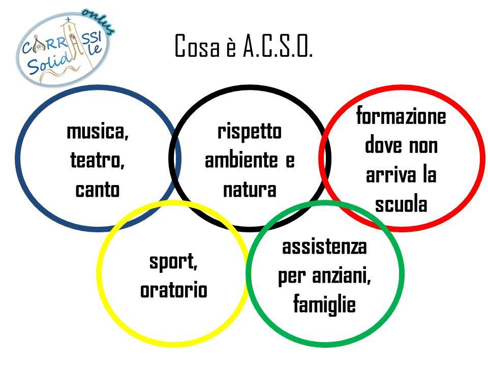 Cosa è A.C.S.O. musica, teatro, canto rispetto ambiente e natura formazione dove non arriva la scuola sport, oratorio assistenza per anziani, famiglie