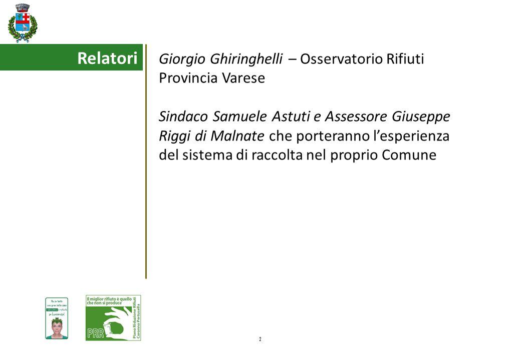 2 Relatori Giorgio Ghiringhelli – Osservatorio Rifiuti Provincia Varese Sindaco Samuele Astuti e Assessore Giuseppe Riggi di Malnate che porteranno l'