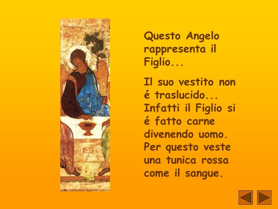 L'Angelo alla sinistra rappresenta il Padre... La sua trascendenza é indicata dalle vesti traslucide.