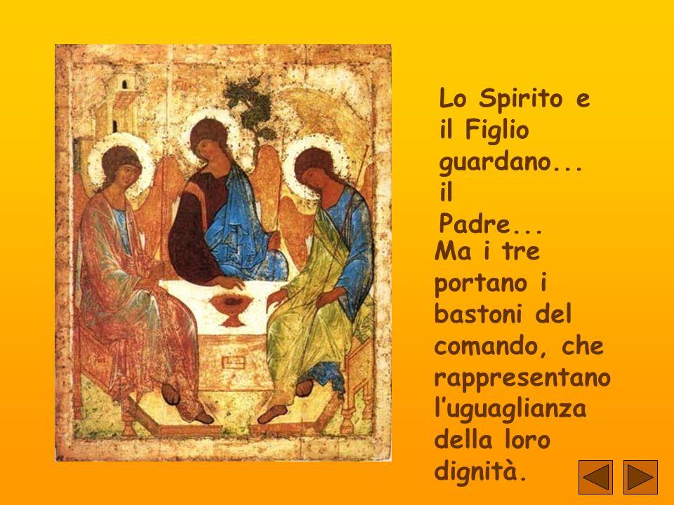 Il terzo angelo rappresenta lo Spirito Santo... Anche le sue vesti sono eteree, benché non come quelle del Padre. Predomina il colore verde, la speran