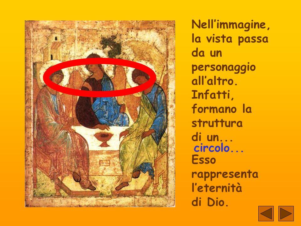 Lo Spirito e il Figlio guardano... il Padre... Ma i tre portano i bastoni del comando, che rappresentano l'uguaglianza della loro dignità.