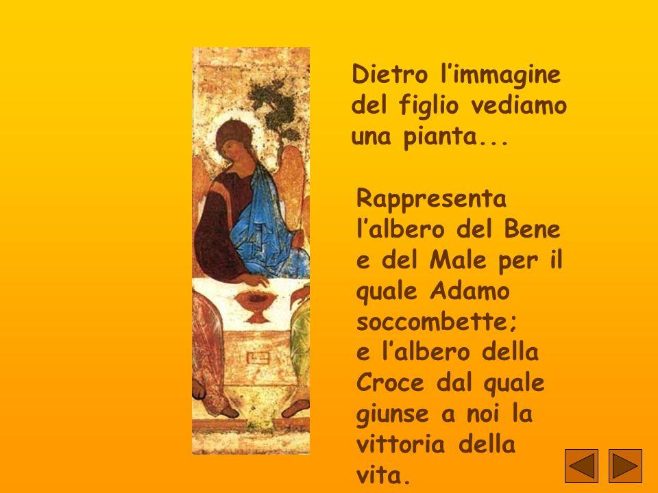 Dietro l'immagine del Padre vediamo una casa... Simbolizza il Tempio dell'Antico Testamento, e rappresenta pure la promessa che ci fece Gesù quando di