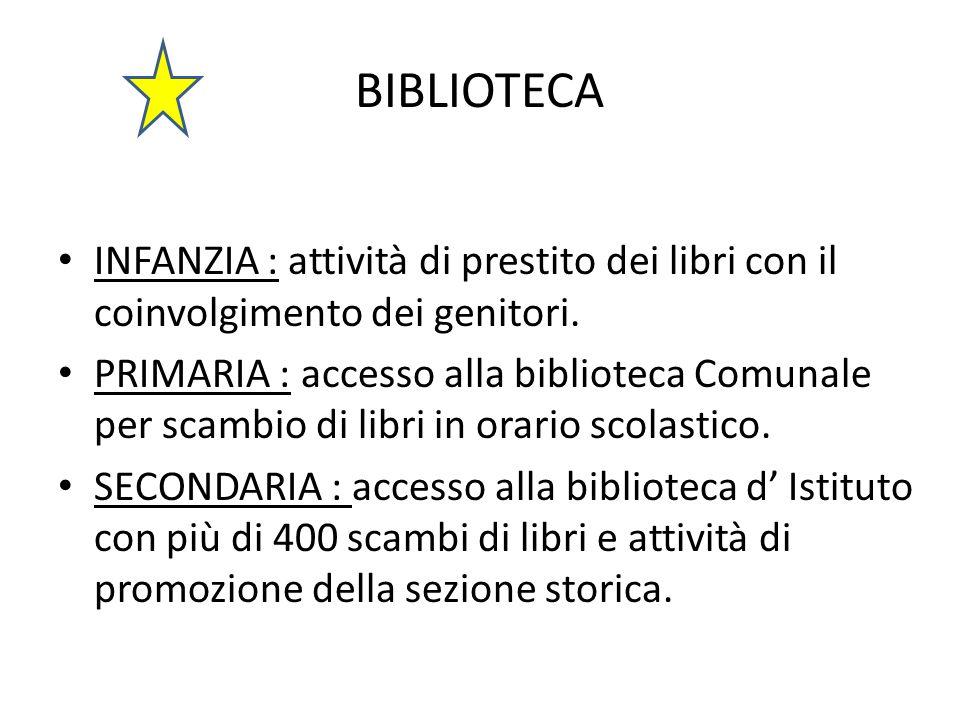 BIBLIOTECA INFANZIA : attività di prestito dei libri con il coinvolgimento dei genitori. PRIMARIA : accesso alla biblioteca Comunale per scambio di li
