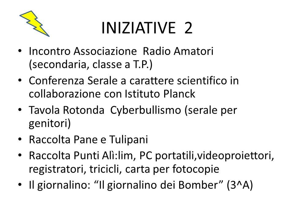INIZIATIVE 2 Incontro Associazione Radio Amatori (secondaria, classe a T.P.) Conferenza Serale a carattere scientifico in collaborazione con Istituto