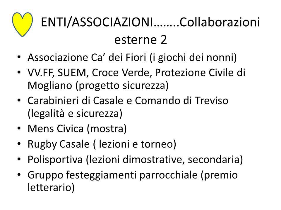 ENTI/ASSOCIAZIONI……..Collaborazioni esterne 2 Associazione Ca' dei Fiori (i giochi dei nonni) VV.FF, SUEM, Croce Verde, Protezione Civile di Mogliano