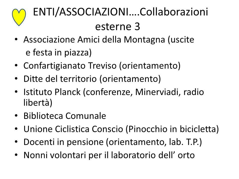ENTI/ASSOCIAZIONI….Collaborazioni esterne 3 Associazione Amici della Montagna (uscite e festa in piazza) Confartigianato Treviso (orientamento) Ditte