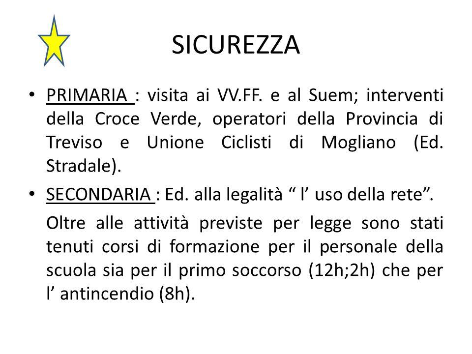 SICUREZZA PRIMARIA : visita ai VV.FF. e al Suem; interventi della Croce Verde, operatori della Provincia di Treviso e Unione Ciclisti di Mogliano (Ed.