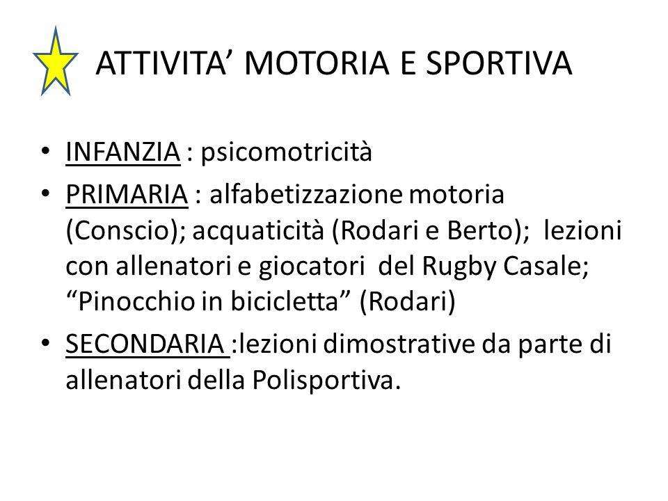 ATTIVITA' MOTORIA E SPORTIVA INFANZIA : psicomotricità PRIMARIA : alfabetizzazione motoria (Conscio); acquaticità (Rodari e Berto); lezioni con allena