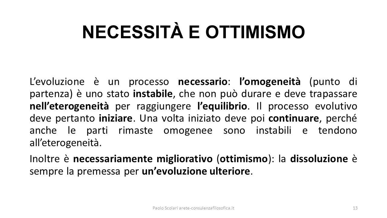 NECESSITÀ E OTTIMISMO L'evoluzione è un processo necessario: l'omogeneità (punto di partenza) è uno stato instabile, che non può durare e deve trapassare nell'eterogeneità per raggiungere l'equilibrio.