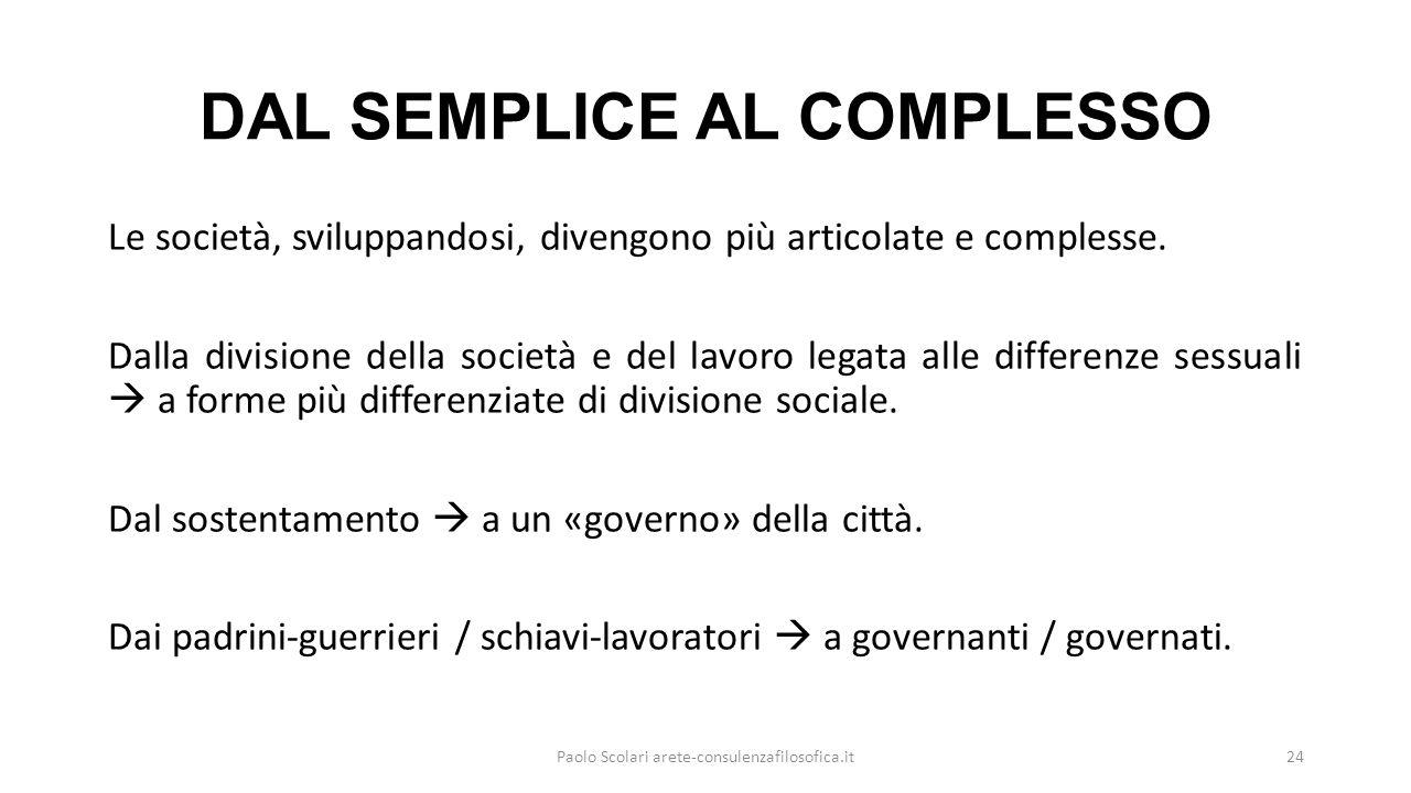 DAL SEMPLICE AL COMPLESSO Le società, sviluppandosi, divengono più articolate e complesse.