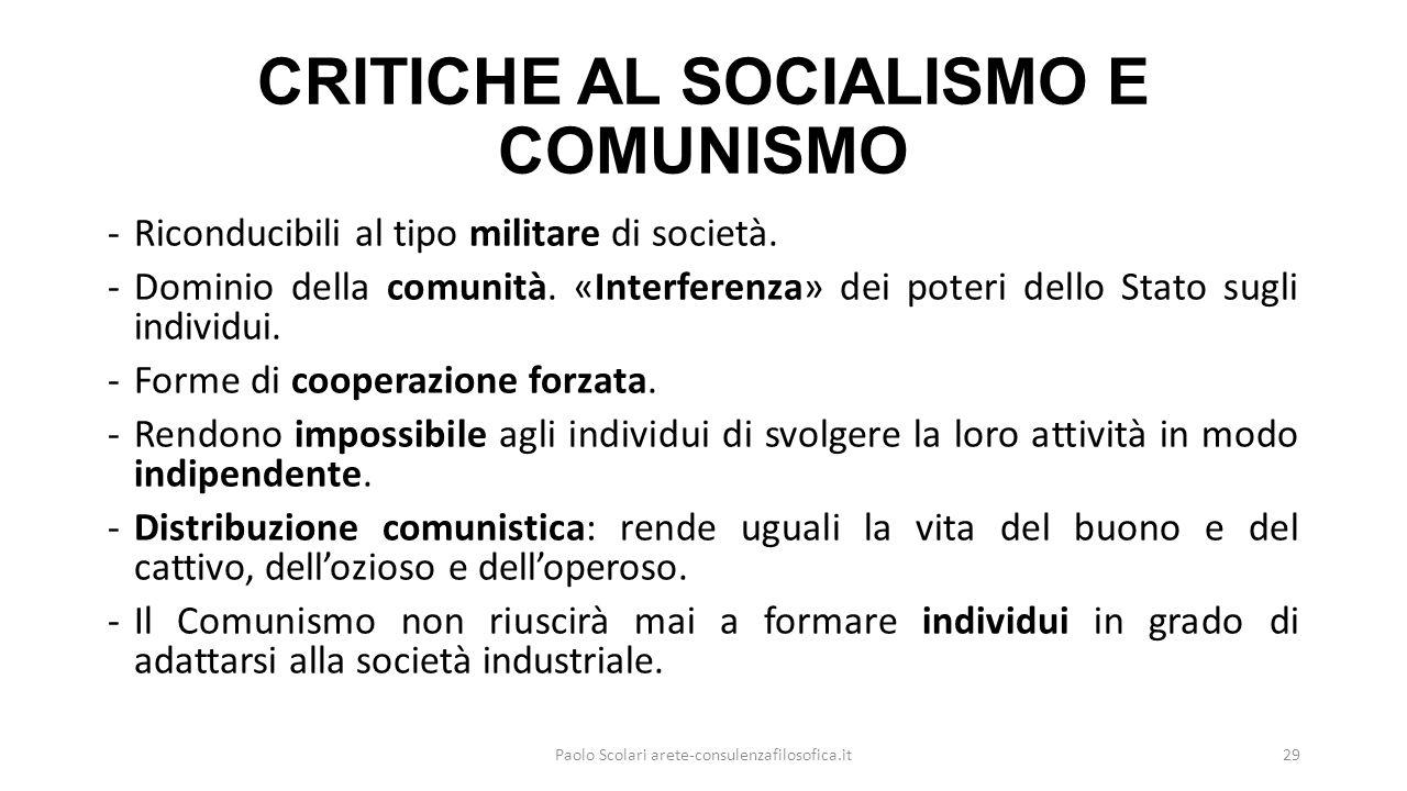 CRITICHE AL SOCIALISMO E COMUNISMO -Riconducibili al tipo militare di società.