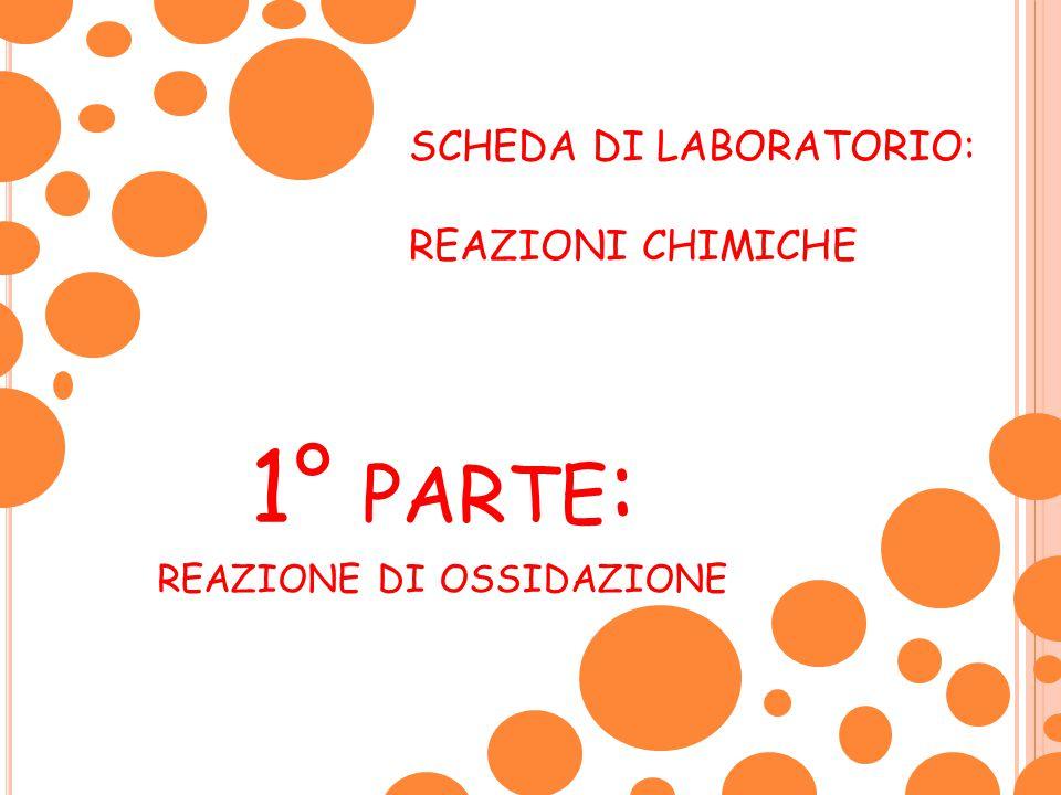1° PARTE : REAZIONE DI OSSIDAZIONE SCHEDA DI LABORATORIO: REAZIONI CHIMICHE