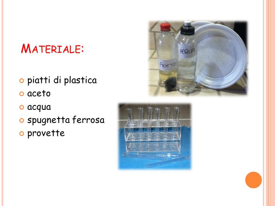 P ROCEDIMENTO : Riempire tre piatti di plastica con 2cm di acqua; Prendere 2cm di spugnetta ferrosa e inserirli nelle tre provette; Versare nella prima provetta l'aceto; nella seconda l'acqua e lasciare solo la spugnetta nella terza.
